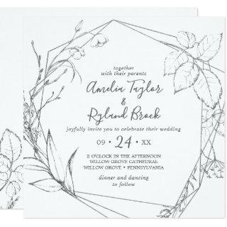 Gilded Floral | Silver & White All In One Wedding Invitation