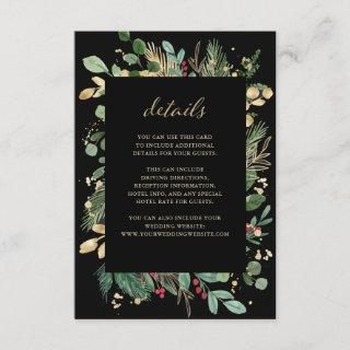 Gilded Greenery Black | Christmas Guest Details Enclosure Card