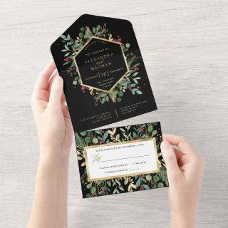 Gilded Greenery on Black | Christmas Wedding All In One