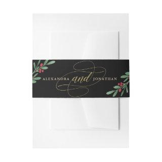 Gilded Greenery on Black | Christmas Wedding Invitations Belly Band