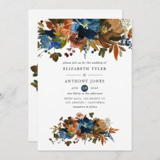 Ginger and Navy Floral Wedding Invitation