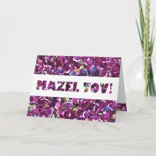 Girly Magenta Pink Faux Sequins Card