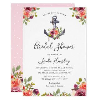 Girly Nautical Anchor Floral Bridal Shower Invitations