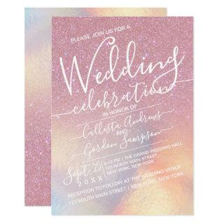 Girly Pink Faux Iridescent Glitter Ombre Wedding Invitation