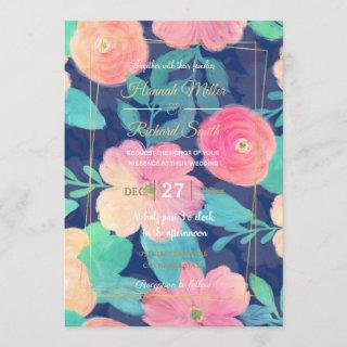 Girly Pink Hand Paint Floral Classic Blue Design Invitation