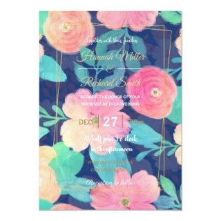 Girly Pink Hand Paint Floral Classic Blue Design Invitations