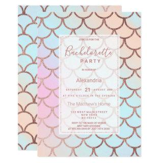 Girly Rose Gold Pink Ombre Mermaid Bachelorette Invitation