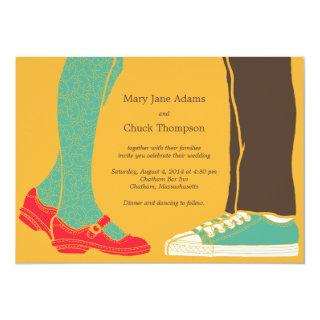 Girly Shoes & Sneakers Illustrated Wedding Yellow Invitations