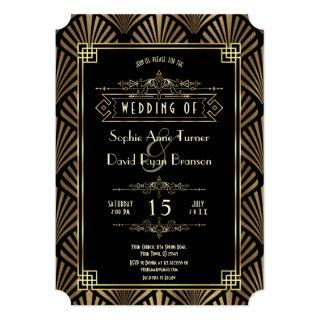 Glam Art Deco Black Gatsby 1920s Style Wedding Invitations