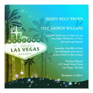 Glam Blue Las Vegas Wedding Invitations