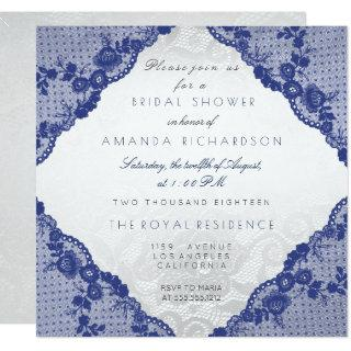 Glam Blue Navy Lace Silver Floral Bridal Shower Invitation