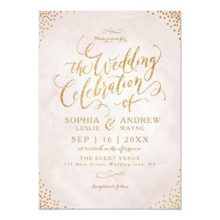 Glam blush glitter rose gold calligraphy wedding invitation