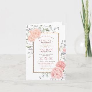 Glam Blush Pink Aquarelle Blossoms Spring Wedding Invitation