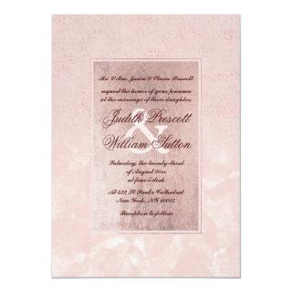 Glam blush pink rose gold ombre watercolor wedding invitation