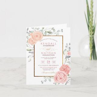 Glam Blush Pink Watercolor Blossoms Spring Wedding