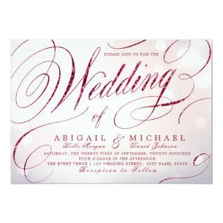 Glam burgundy calligraphy vintage wedding Invitations