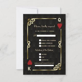 Glam Casino Gold Great Gatsby Song Request Wedding RSVP Card