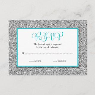 Glam Faux Glitter Silver Teal Blue RSVP