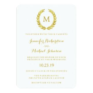 Glam Faux Gold Foil Laurel Wreath Monogram Wedding Invitation