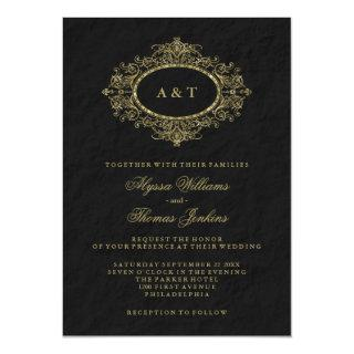 Glam Faux Gold Ornate Frame on Black Wedding Invitation