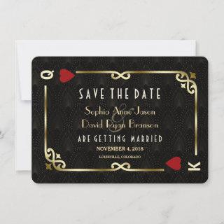 Glam Gatsby Casino Las Vegas Poker Wedding Save The Date
