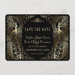 Glam Gold Art Deco Peacocks Wedding Save The Date