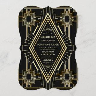 Glam Gold Black Great Gatsby Bachelorette Party Invitation