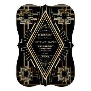 Glam Gold Black Great Gatsby Bachelorette Party Invitations