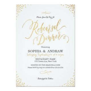 Glam gold calligraphy vintage Rehearsal Dinner Invitations