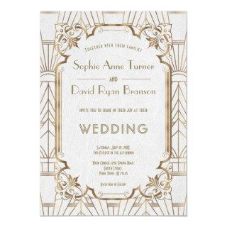 Glam Gold Great Gatsby White Art Deco 20s Wedding Invitation