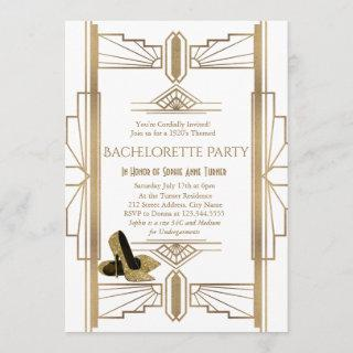 Glam Gold White Great Gatsby Bachelorette Party Invitations