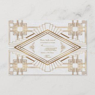 Glam Gold White Great Gatsby Wedding RSVP