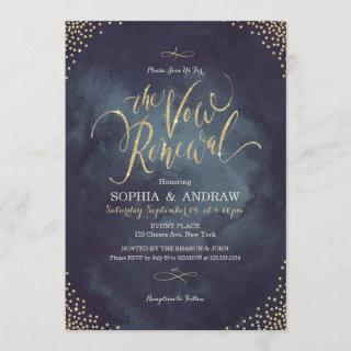 Glam night gold calligraphy vow renewal Invitations