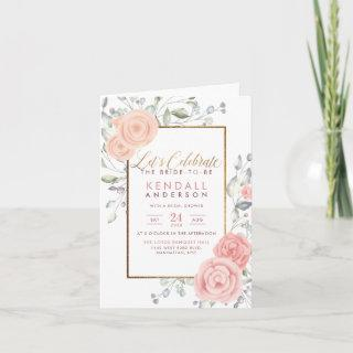 Glam Peach Painted Flowers Botanical Bridal Shower Invitation