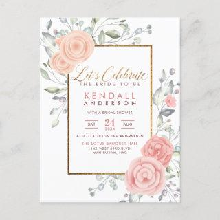 Glam Pink Painted Flowers Spring Bridal Shower Invitation Postcard