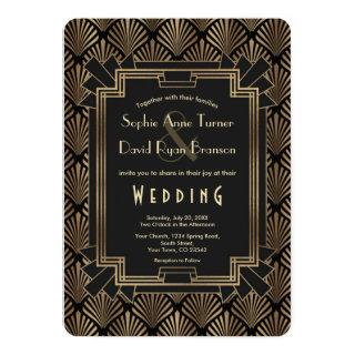Glam Roaring 20's Gold Black Great Gatsby Wedding Invitations