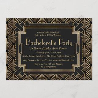 Glam Roaring 20's Great Gatsby Bachelorette Party Invitations