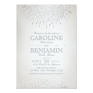 Glam silver glitter art deco vintage wedding Invitations