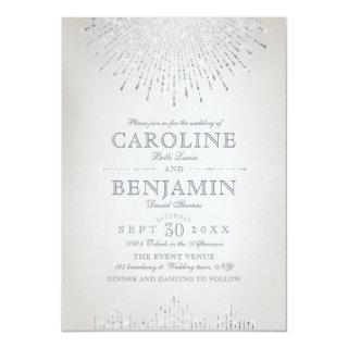 Glam silver glitter art deco vintage wedding invitation