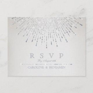Glam silver glitter deco vintage wedding RSVP Invitations Postcard