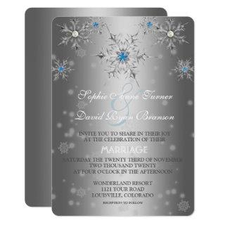 Glam Silver Snowflakes Crystal Blue Pearl Wedding Invitation