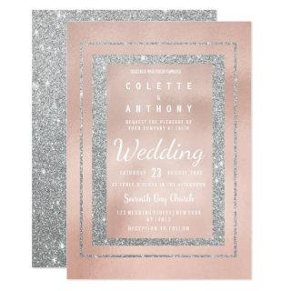 Glam soft rose gold silver glitter Wedding Invitation