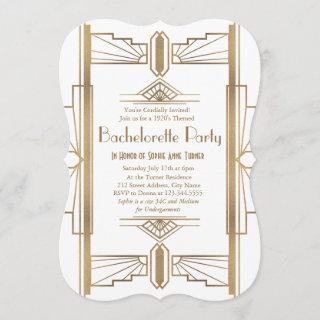 Glam White 1920s Great Gatsby Bachelorette Party Invitations