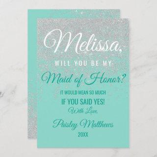 Glam White Glitter Sparkles Teal Maid of Honor Invitations