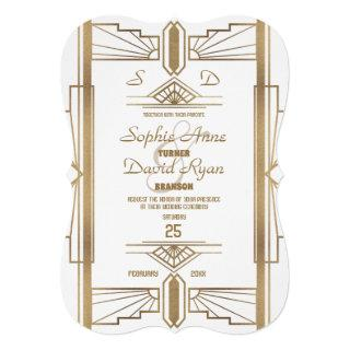 Glam White Roaring 20's Great Gatsby Wedding Invitations