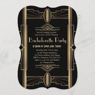 Glamorous 1920s Great Gatsby Bachelorette Party Invitations