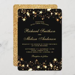 Glamorous Black Gold Faux Glitter Stars Wedding Invitations