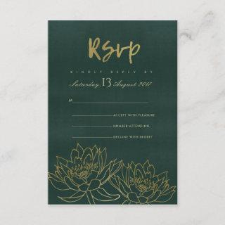 GLAMOROUS GOLD DARK GREEN LOTUS FLORAL RSVP