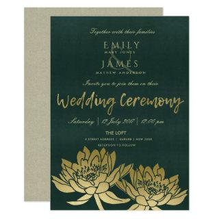GLAMOROUS GOLD DARK GREEN LOTUS FLORAL WEDDING INVITATION