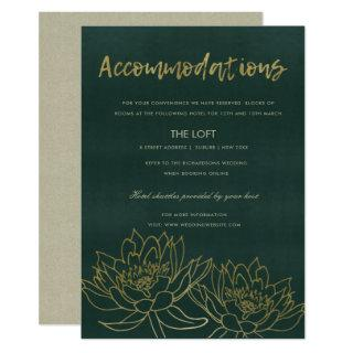 GLAMOROUS GOLD GREEN LOTUS FLORAL ACCOMMODATION INVITATION